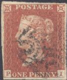 1841 1d Red SG8 Plate 21 'PI' CV